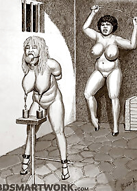 Once more she had attached weights to her nipples, through the use of viciously sharp clips pic 1