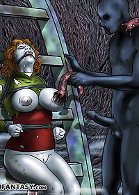 A dark figure was flogging the women on her naked breasts pic 1