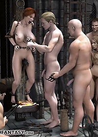 He was staring at the girl's big breasts, longing to use his crop on them pic 2
